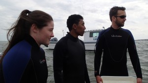 Jessie and her classmate Kyle and TA Jon are suited up and ready to survey the eelgrass