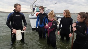 Dave (second from left) and ZEN classmates survey seagrass in the Chesapeake Bay before beginning their ZENternships