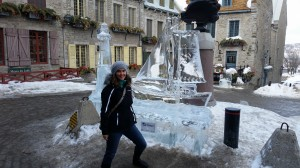 Boat ice sculpture in downtown Quebec City