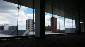 View of the Baltimore skyline from the convention center.