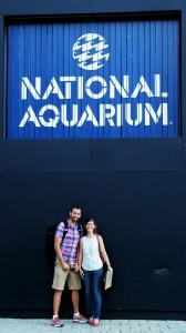 Jon Lefcheck and Pamela Reynolds at the Aquarium entrance