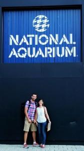 Jon Lefcheck and Pamela Reynolds at the Aquarium entrance